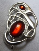 Celtic Nouveau Pewter Brooch With Amber Coloured Stone
